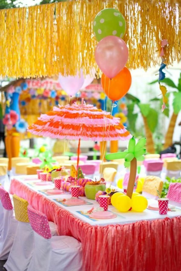 beautiful table decoration for a kids birthday party decoration in the garden