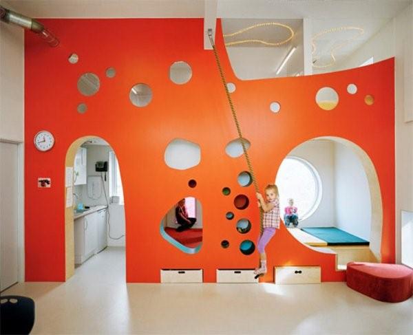 kindergarten interior wall orange play