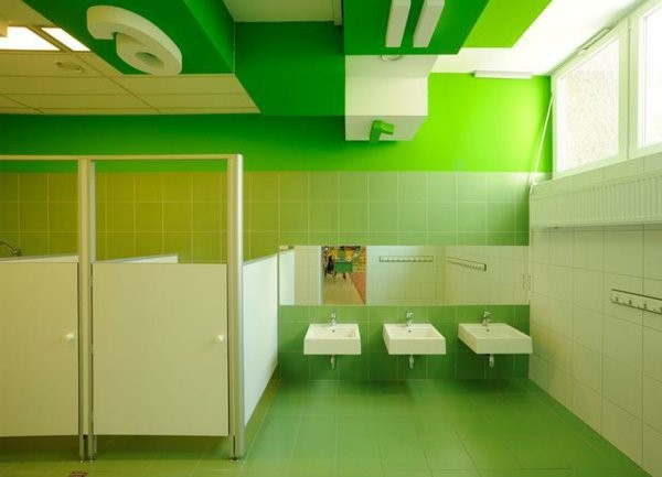 kindergarten interiors cool bathroom in green and white
