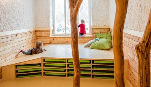 kindergarten interiors extravagant cyclamen colored wall