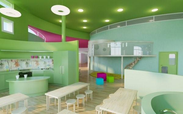 kindergarten interiors green room ceiling