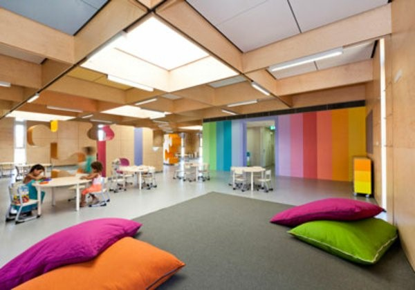 kindergarten interiors large room with Pillow