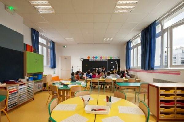 kindergarten interiors large room with a blackboard