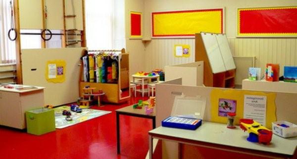 kindergarten interiors red ground