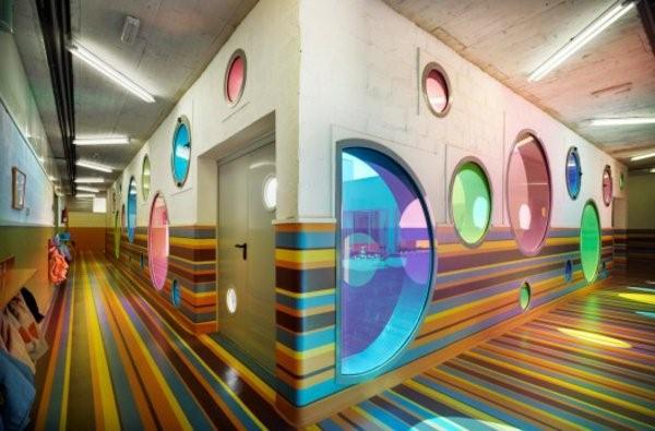 kindergarten interiors round windows made of colored glass