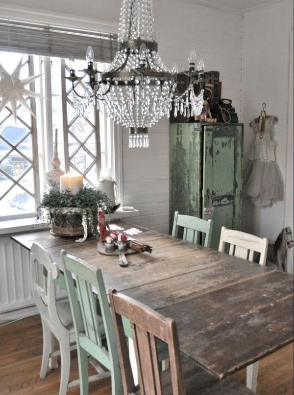 Vintage style kitchen different chairs