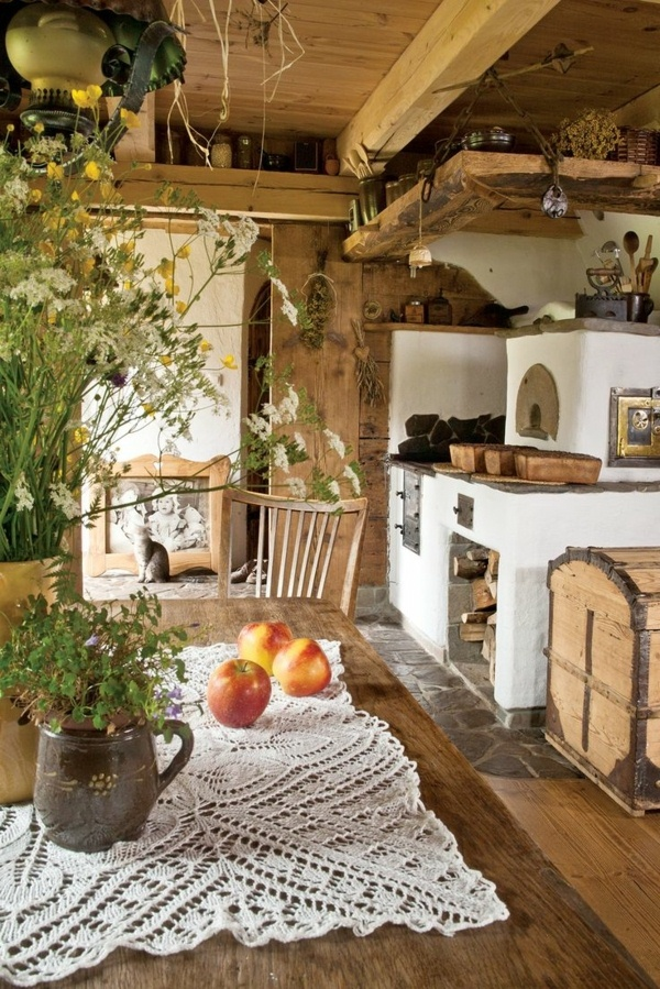 wooden country house kitchens