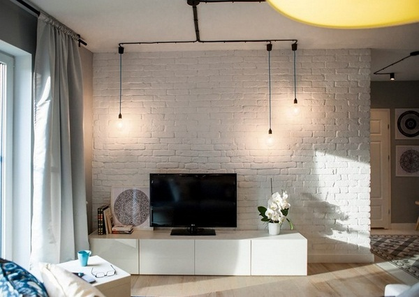 Wall decoration living brick wall white low board television