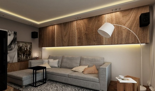 Wall decoration living room light LED strip wood wall cabinets