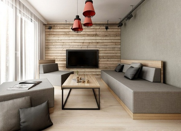 Wall design room wood wall panels pathcwork tiles TV
