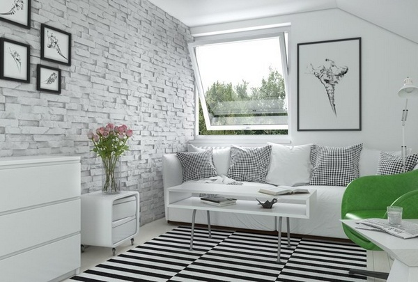 Wall tile stone look white sofas living