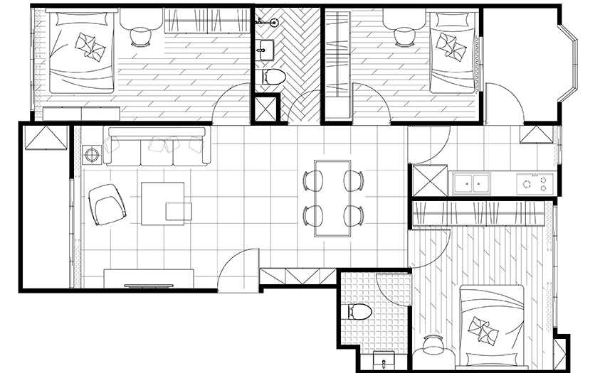 0-1-four-room-apartment-plan-scheme-layout-with-furniture-three-bedrooms-open-concept-living-dining-room