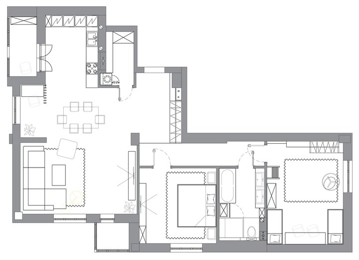 1-three-room-apartment-plan-layout-scheme-with-furniture-arrangement-laundry-pantry-two-bedroom-small-balcony