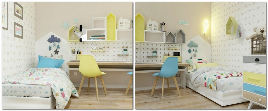 10-1-contemporary-style-interior-design-kid's-toddler-room-bedroom-light-beige-blue-yellow-double-two-person-desk-two-beds-symmetrical-perforated-board