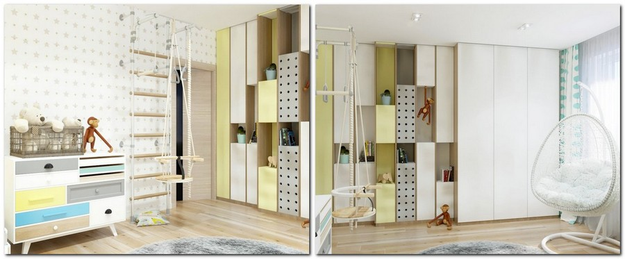 10-2-contemporary-style-interior-design-white-yelloe-light-blue-suspended-chair-wall-to-wall-closet-with-open-racks-chest-of-drawers-swings-gym-wall-bars