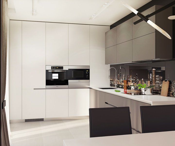4-1-contemporary-style-interior-design-kitchen-set-black-and-white-sleek-push-to-open-cabinets-minimalistic-glass-photo-backsplash-New-York-city-view