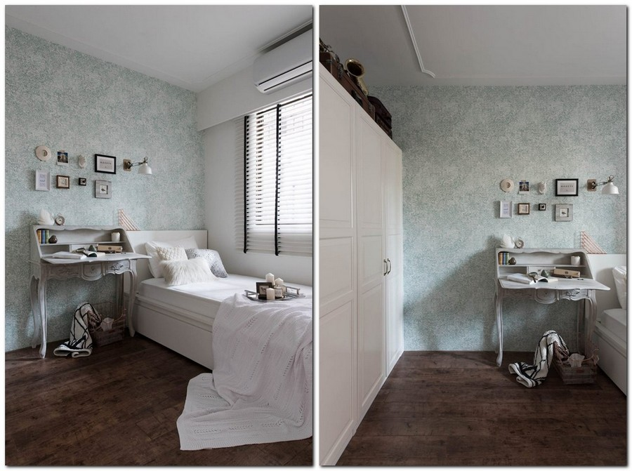 5-1-eclectic-Scandinavian-and-French-style-interior-bedroom-pale-green-wallpaper-floral-pattern-retro-console-desk-dressing-table-white-bed-wall-to-wall-closet-wardrobe-Venetian-blinds
