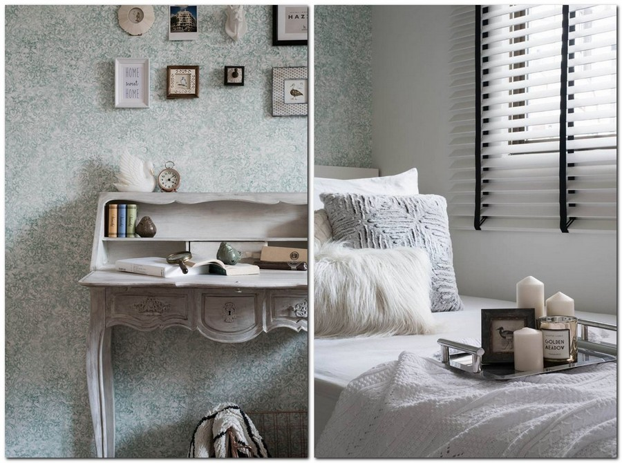 5-2-eclectic-Scandinavian-and-French-style-interior-bedroom-decor-pale-green-wallpaper-floral-pattern-retro-console-desk-dressing-table-white-bed-Venetian-blinds-candles-pictures