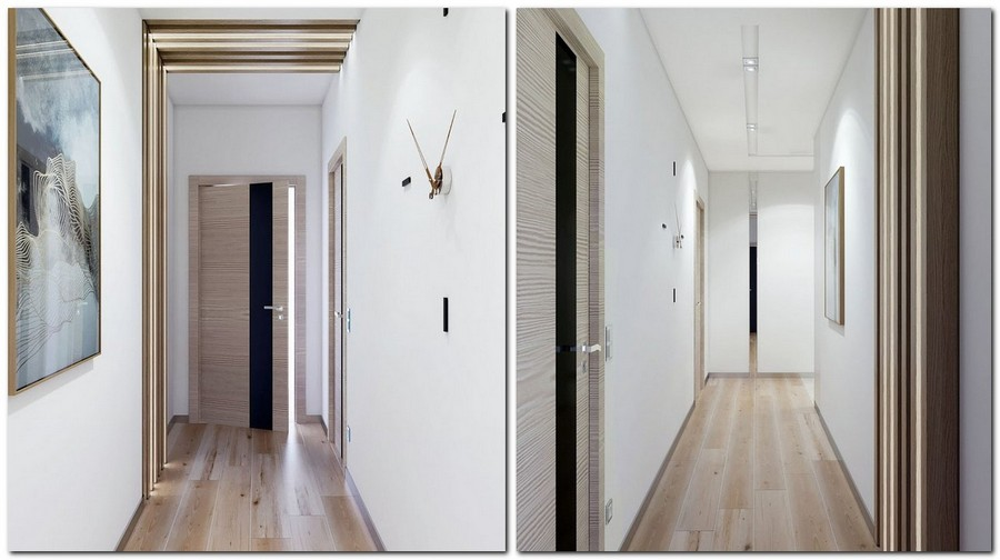 7-2-contemporary-style-interior-design-narrow-corridor-hallway-wooden-strips-planks-wall-decor-white-walls-mirror-inserts-doors-with-black-glass-inserts