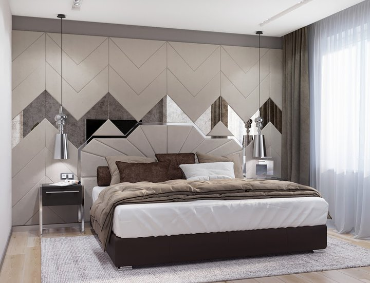 8-1-contemporary-style-interior-design-bedroom-beige-gary-white-bed-geometrical-headboard-leather-panels-mirror-inserts-nightstands-rug-suspended-lamps