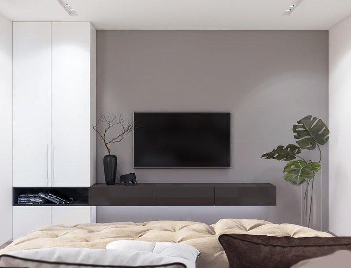 8-2-contemporary-style-interior-design-bedroom-tall-narrow-cabinet-wardrobe-storage-brown-console-TV-set-indoor-plants
