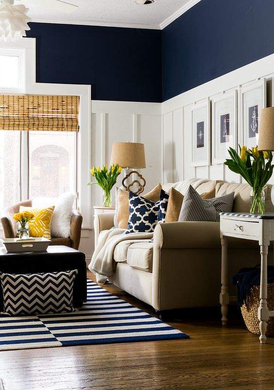 navy living room decor