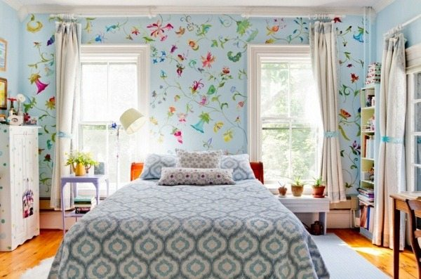 Interior Fabrics And Wallpaper With Floral Pattern Great Ideas For Your Hom