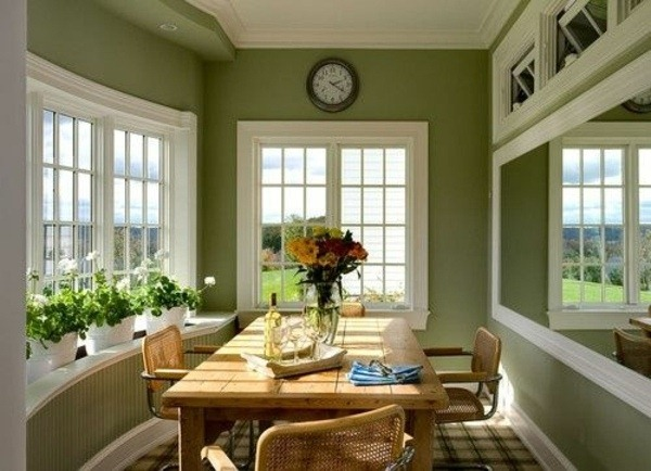 Dining Room Wall Design Sage Green Wooden Table