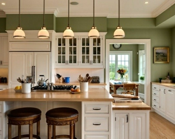 make kitchen wall design sage green