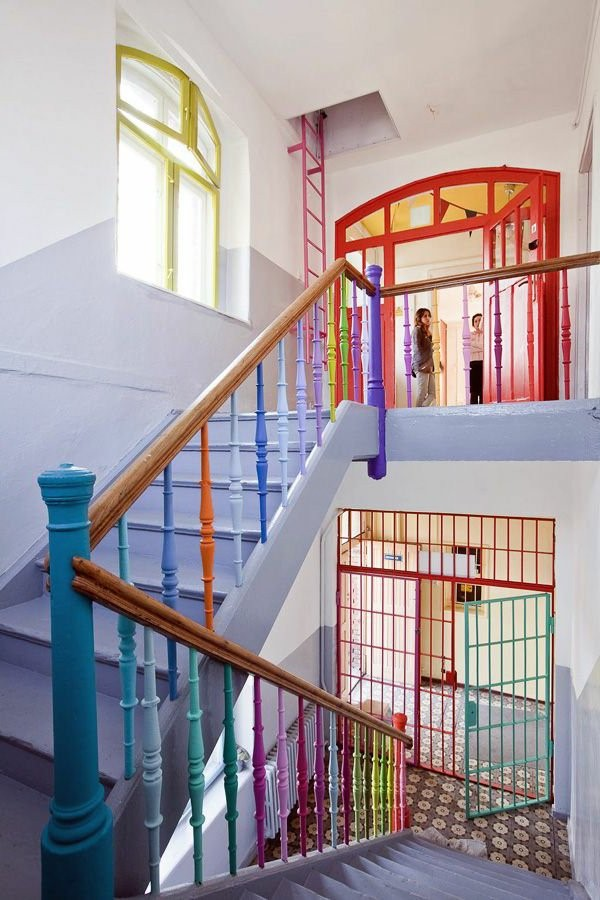 kindergarten interior stairs with railings colorful