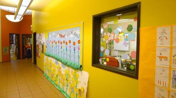 kindergarten interior yellow wall in the corridor