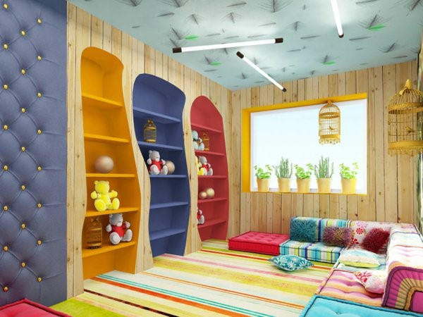 kindergarten interiors beautiful colorful shelves