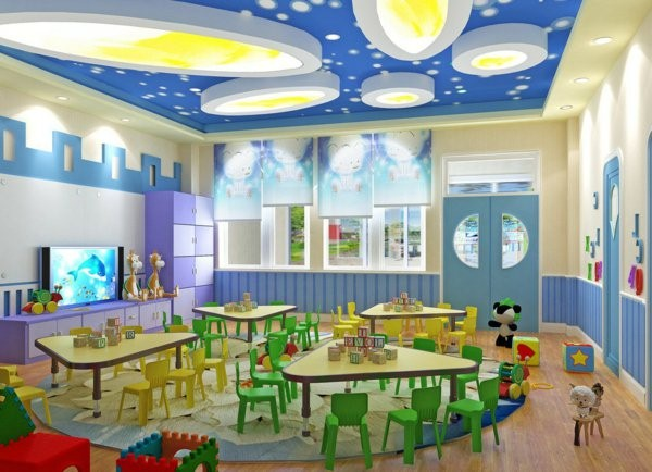 kindergarten interiors blue room ceiling