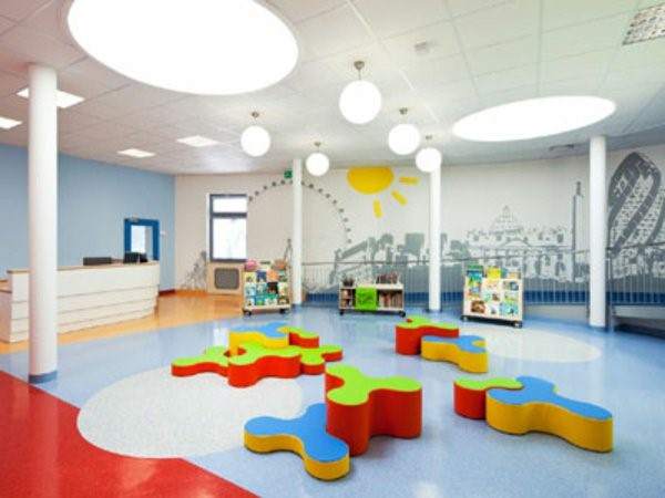 kindergarten interiors colorful elements and white column