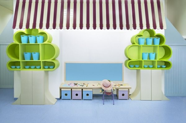kindergarten interiors green shelves