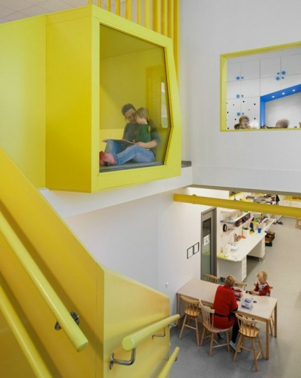 kindergarten interiors in yellow color