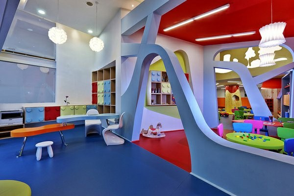 kindergarten interiors large room in blue color