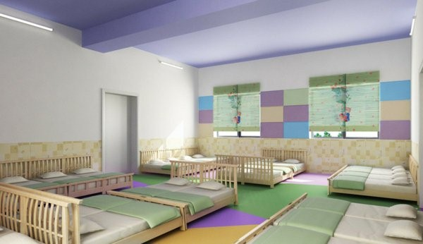 kindergarten interiors many beds in simple colors