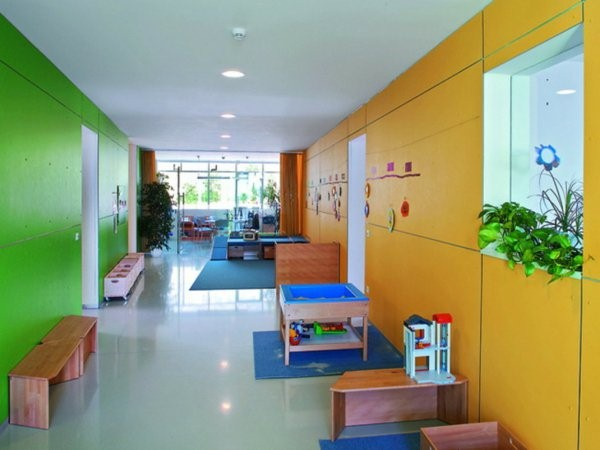 kindergarten interiors white walls and colorful furniture