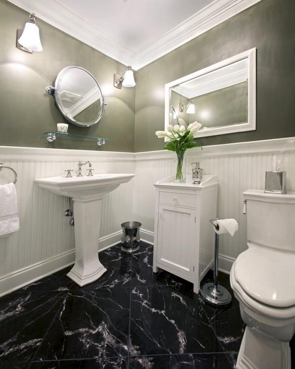 Marble floor at home Bathroom Bath Vanity double washbasin faucet white gray