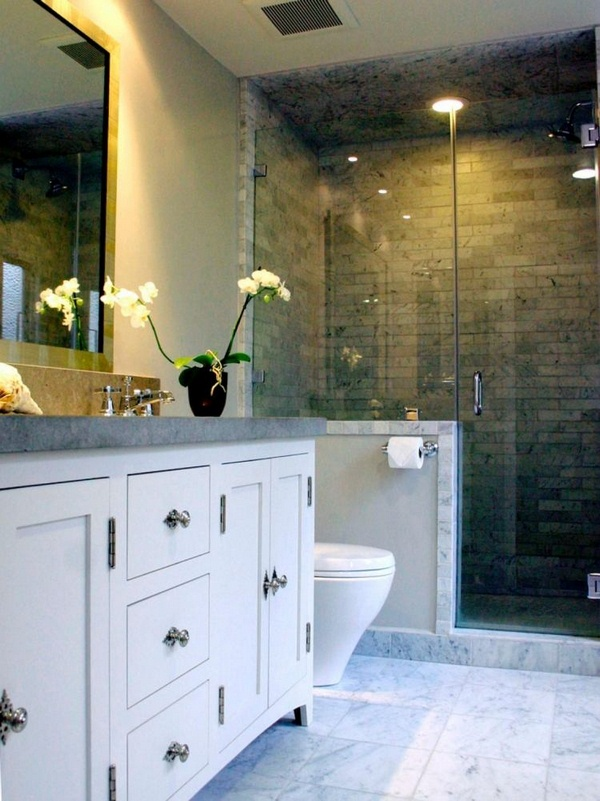 Marble floor at home Bathroom White Black Modern Figure arrangement mirror sink