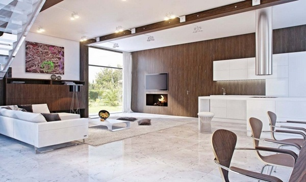 Marble floor at home Living Room White Brown Wood coffee table fireplace open TV