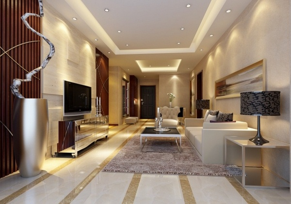 Marble floor at home Living Room White beige brown couch white glossy reflective surface luxury