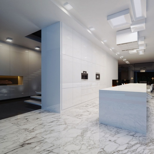Marble floor at home Modern Kitchen White Gray Black kuecheninsel minimalist