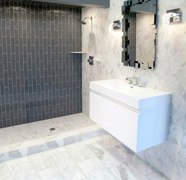 Marble floor at home and white bathroom black classic loo vase tulips Basin