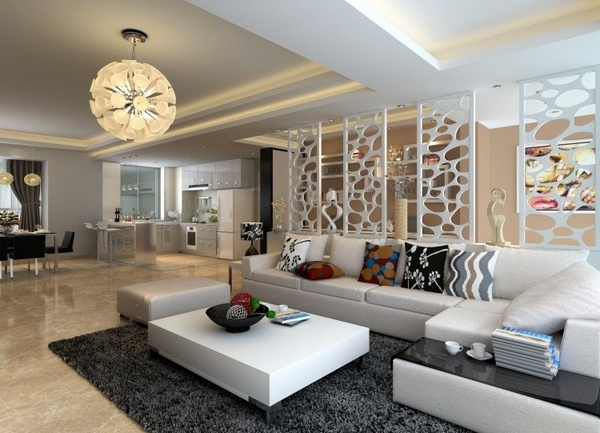 Marble floor at home and white modern living room corner sofa leather lamp design