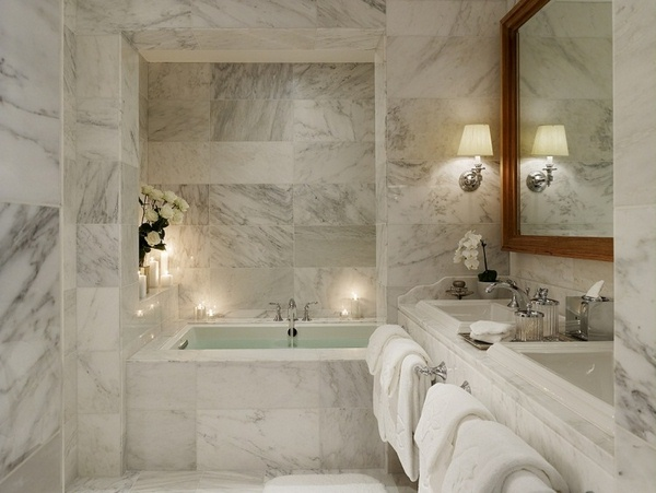 Marble floor at home bathroom vanity toilet shower white glass door