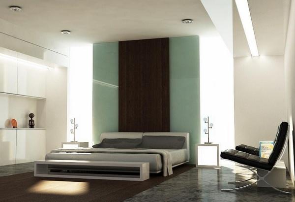 Marble floor at home bedroom big bright window wall bed headboard