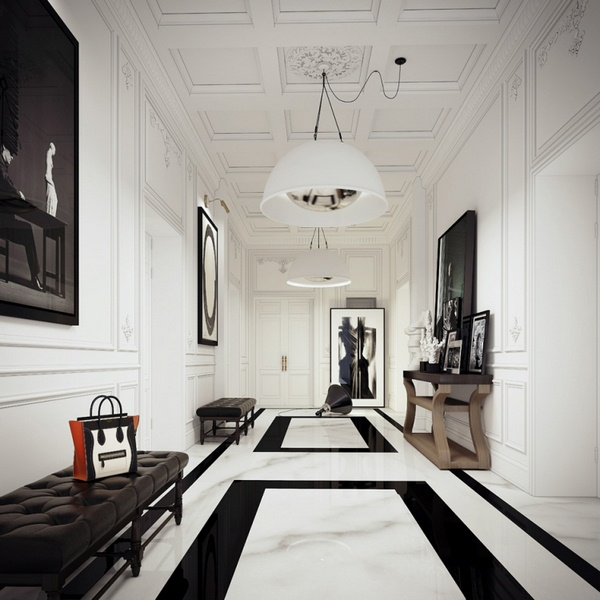 Marble floor at home corridor black and white Suspension lamp high ceiling pattern images photos