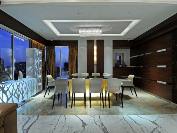 Marble floor at home dining room dining chairs flooring indirect lighting